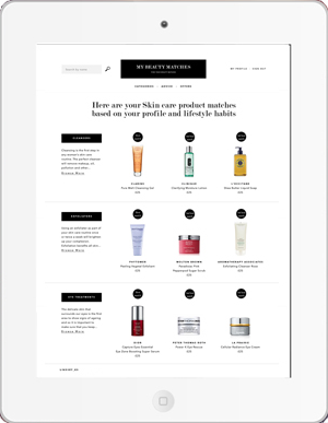 Beauty shopping site on tablet